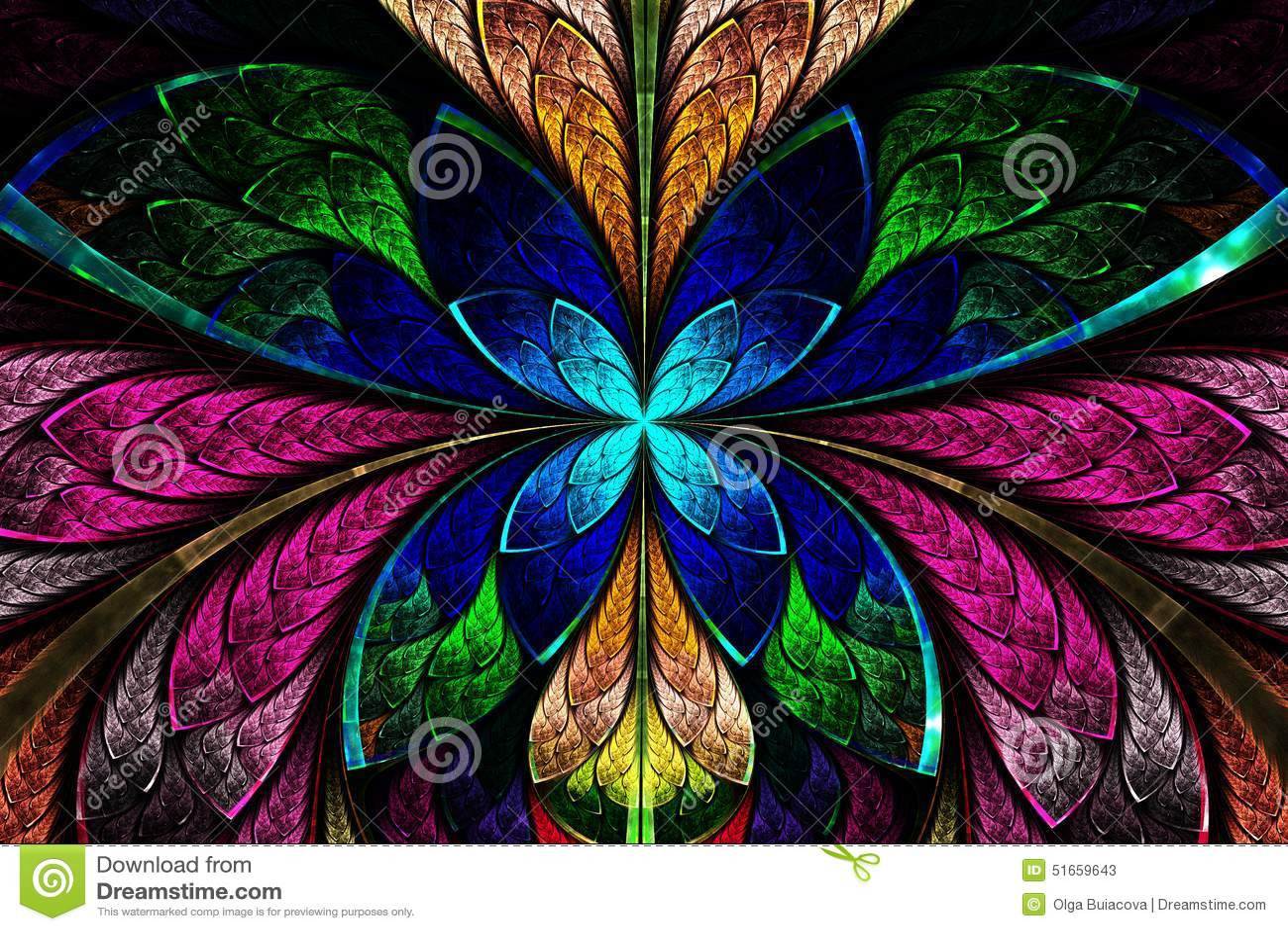 Stubarwny symetryczny fractal wzór jak kwiatu lub motyla