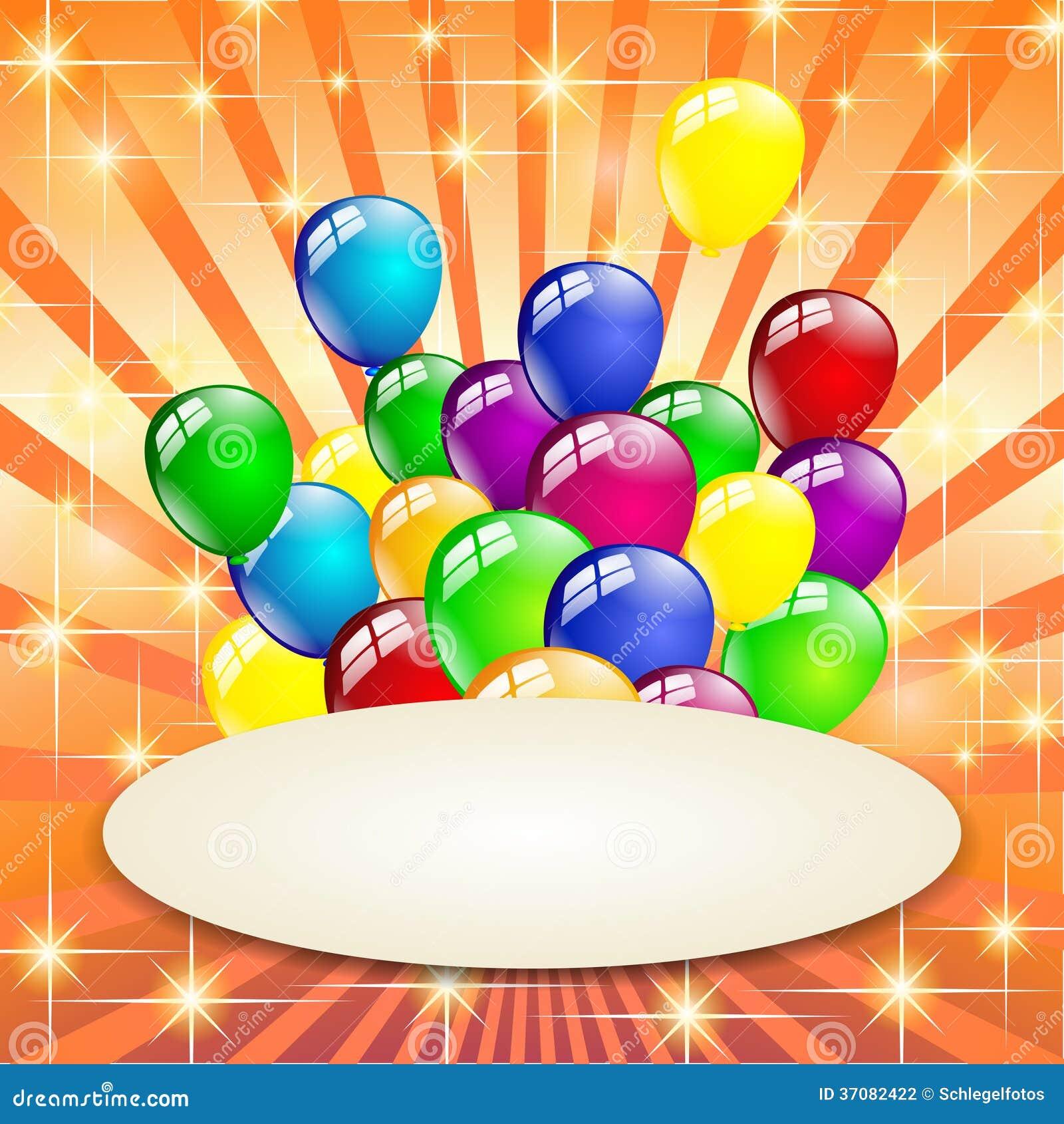 Download Stubarwny Urodzinowy Balonu Przyjęcie Ilustracji - Ilustracja złożonej z piękny, niespodzianka: 37082422
