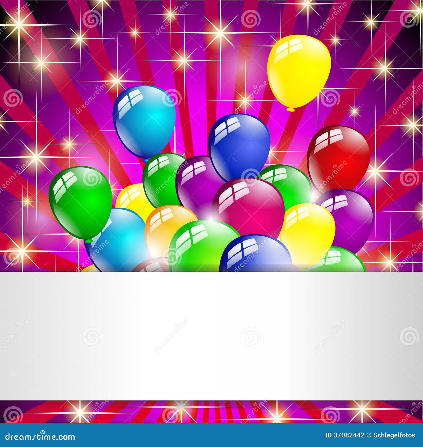 Download Stubarwny Urodzinowy Balonu Przyjęcie Ilustracji - Ilustracja złożonej z papier, kolor: 37082442