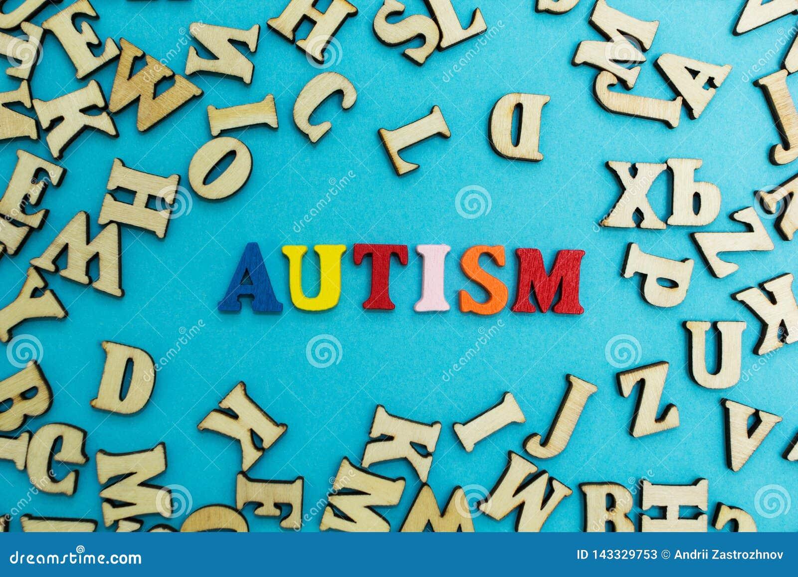 Stubarwny wpisowy «autyzm «na błękitnym tle, rozpraszający listy