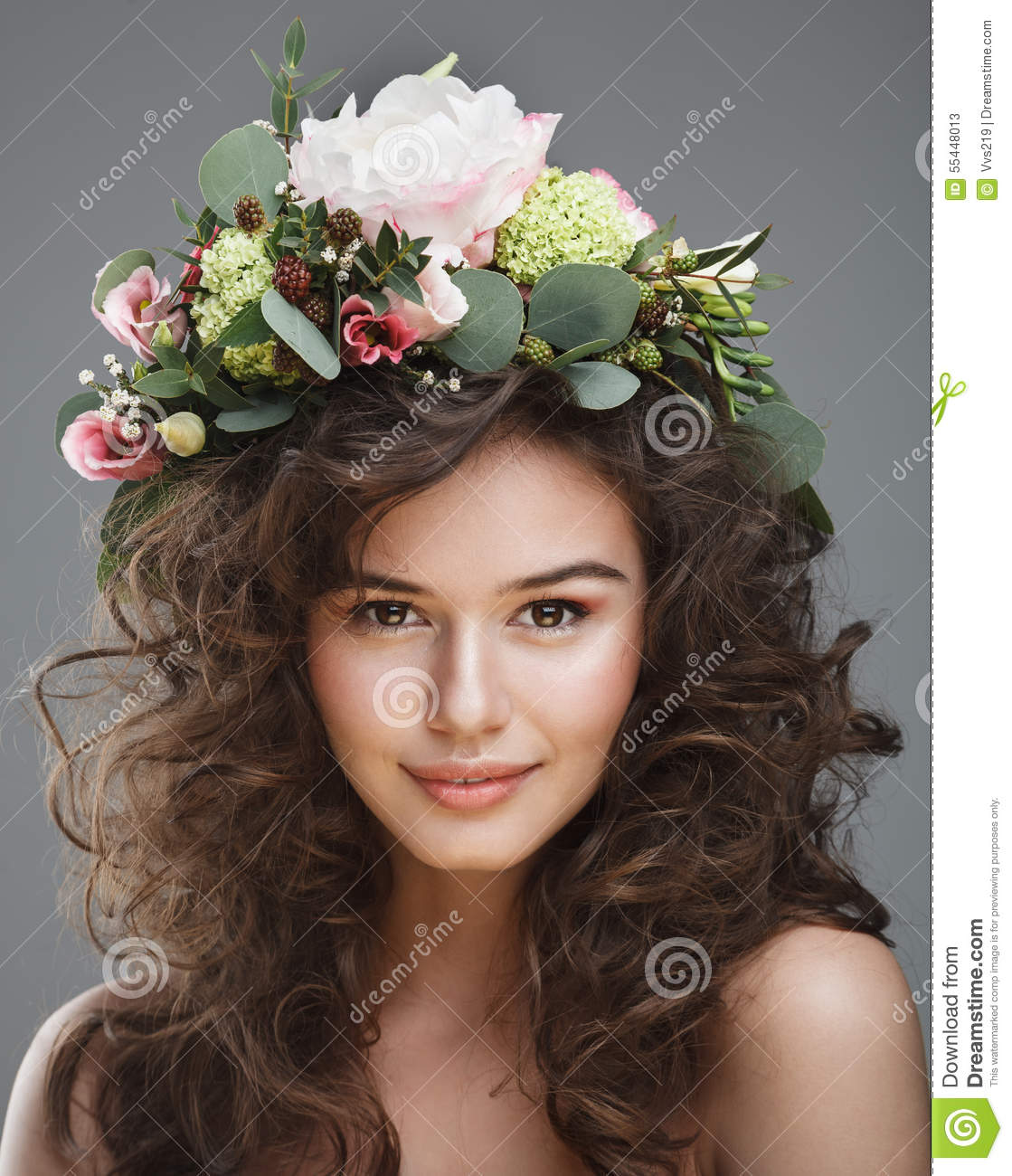 Stubio beauty portrait of cute young woman with flower crown stock download comp izmirmasajfo