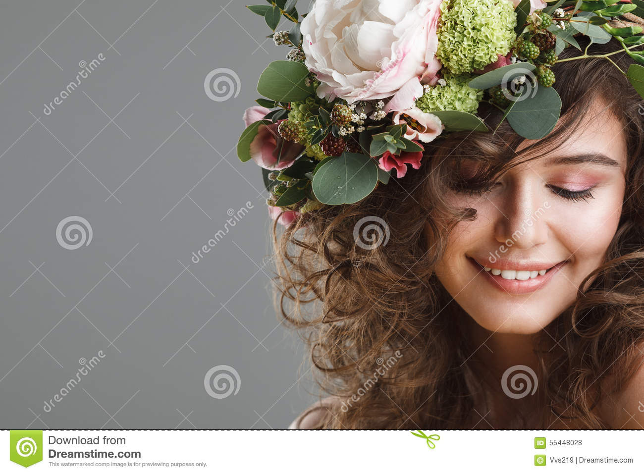 Stubio Beauty Portrait Of Cute Young Woman With Flower Crown Stock