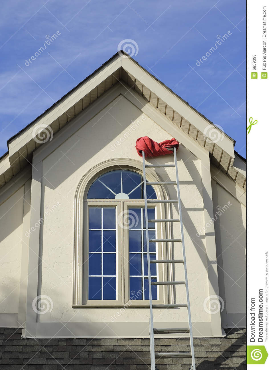 ... Window And Extension Ladder Royalty Free Stock Photos - Image: 6859398