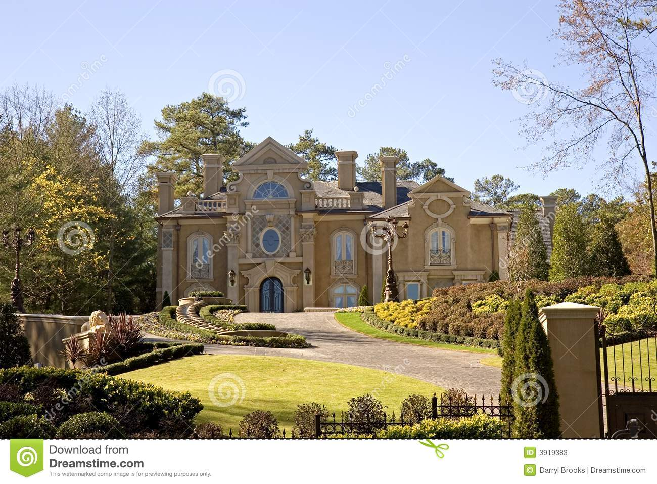 Stucco Mansion On Hill Stock Image Image Of Hill Columns