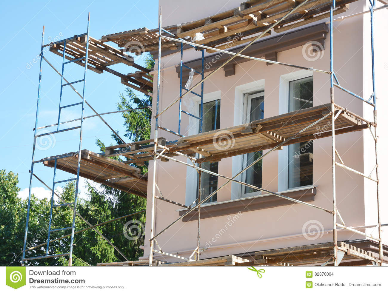 Stucco Painting And Plastering Exterior House Scaffolding Facade