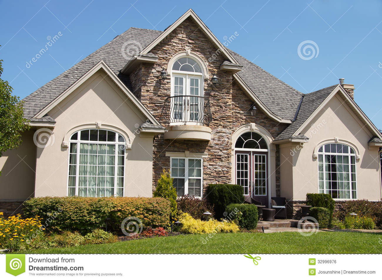 Stucco Stone House Pretty Windows Stock Photo Image