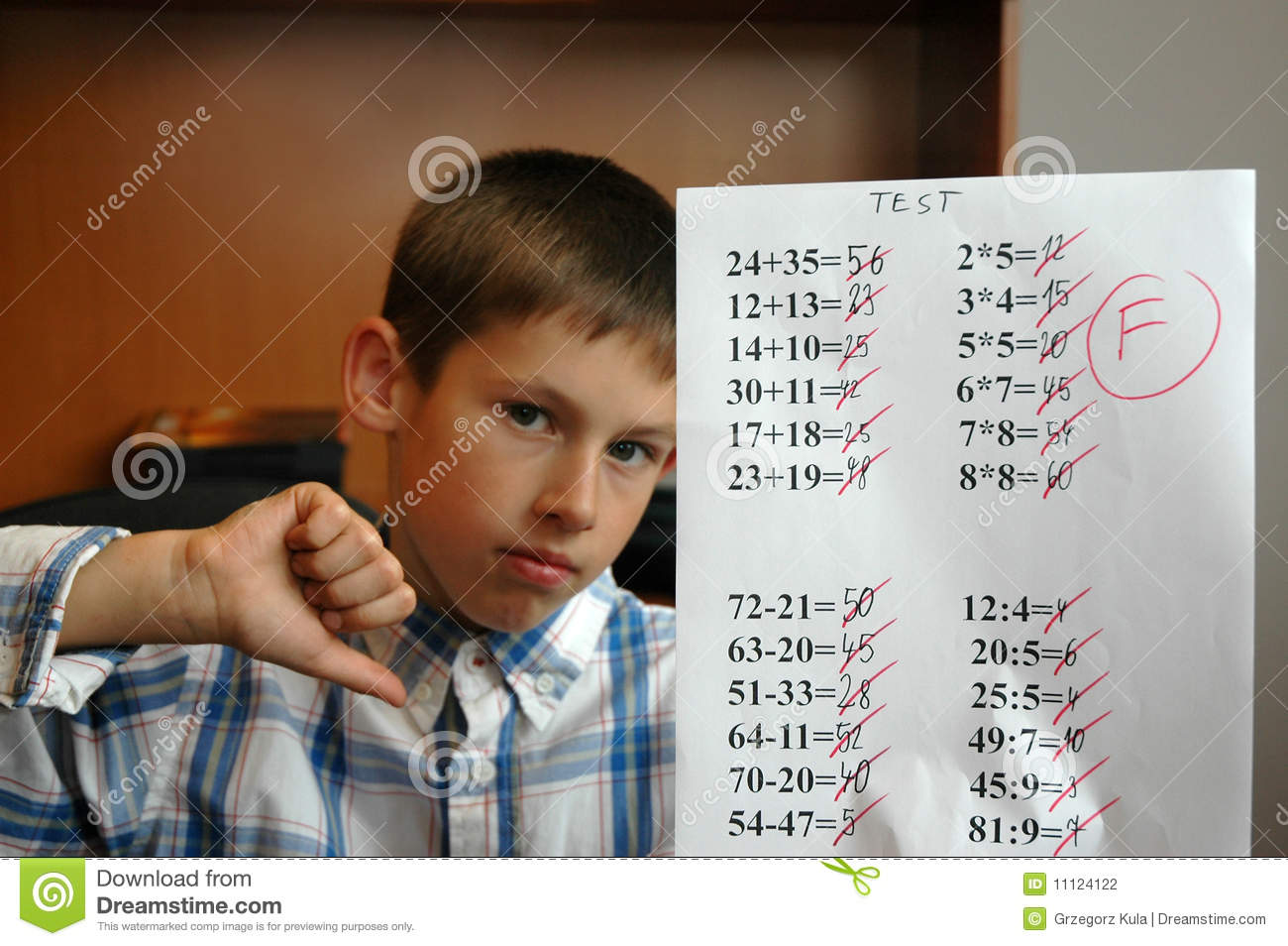 studen gets f grade stock photo  image of child  table