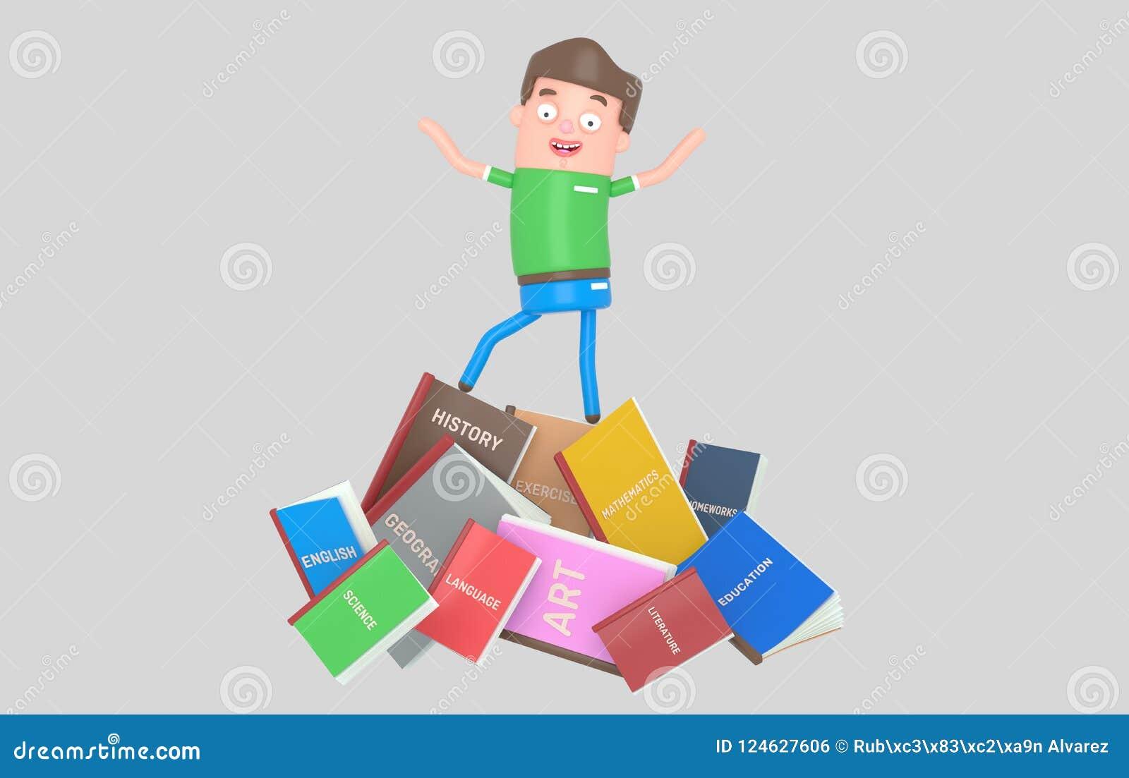 Studencka pozycja na stosie książki 3d illustratiion