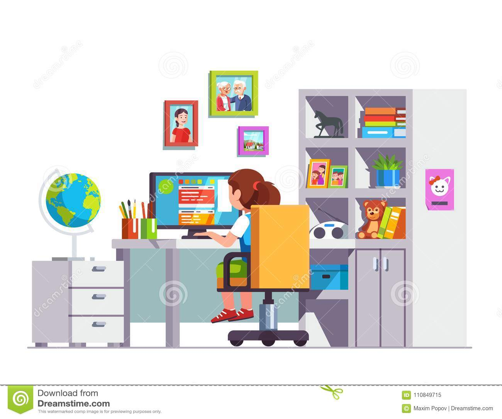 Studencki dzieciaka obsiadanie przy biurkiem, robi szkolnej pracie domowej