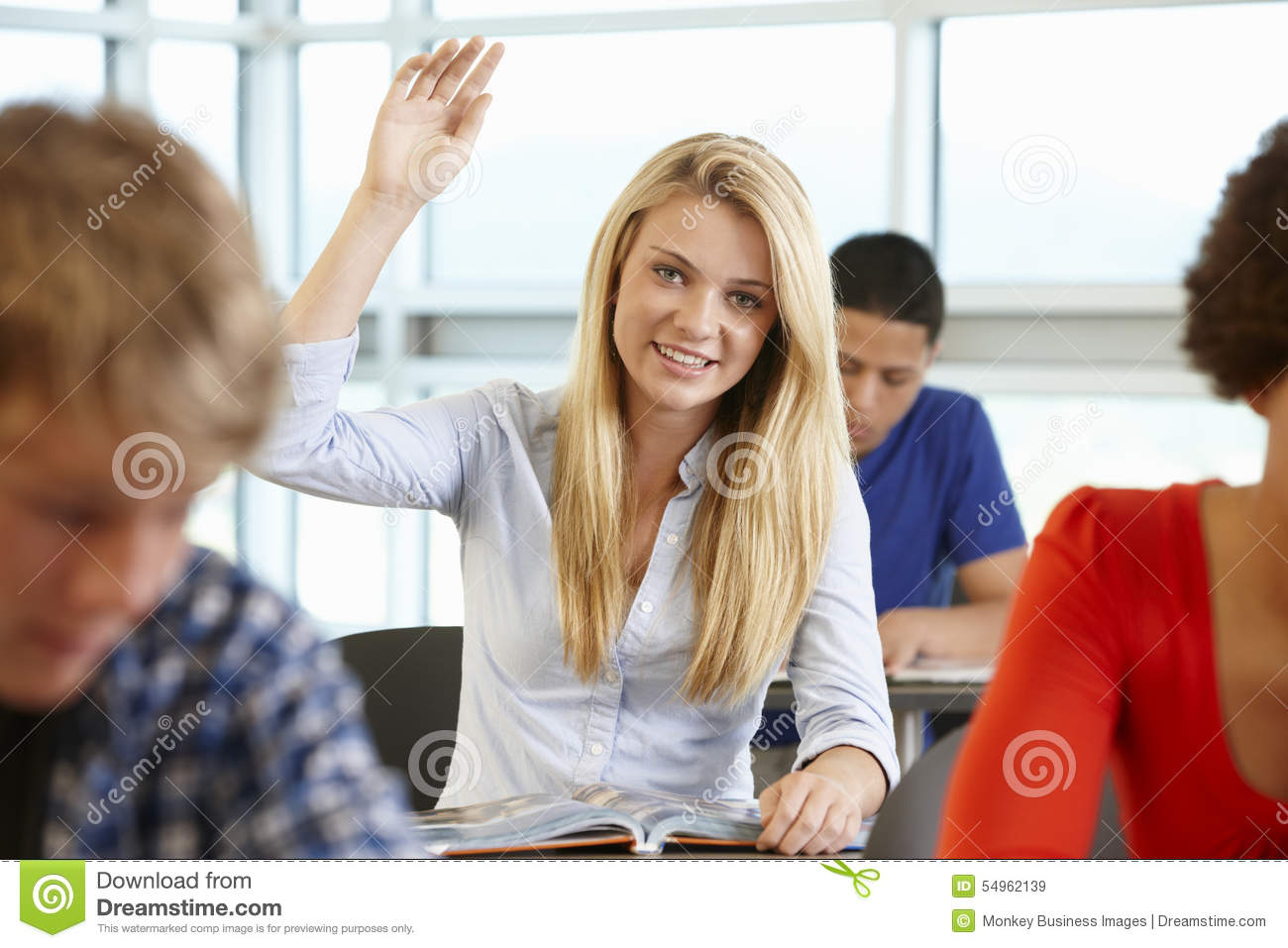 Student Asking Question In Class Stock Image - Image: 54962139