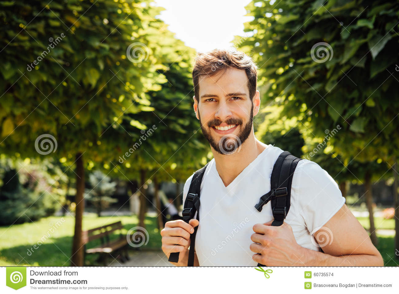 Student with backpack outside