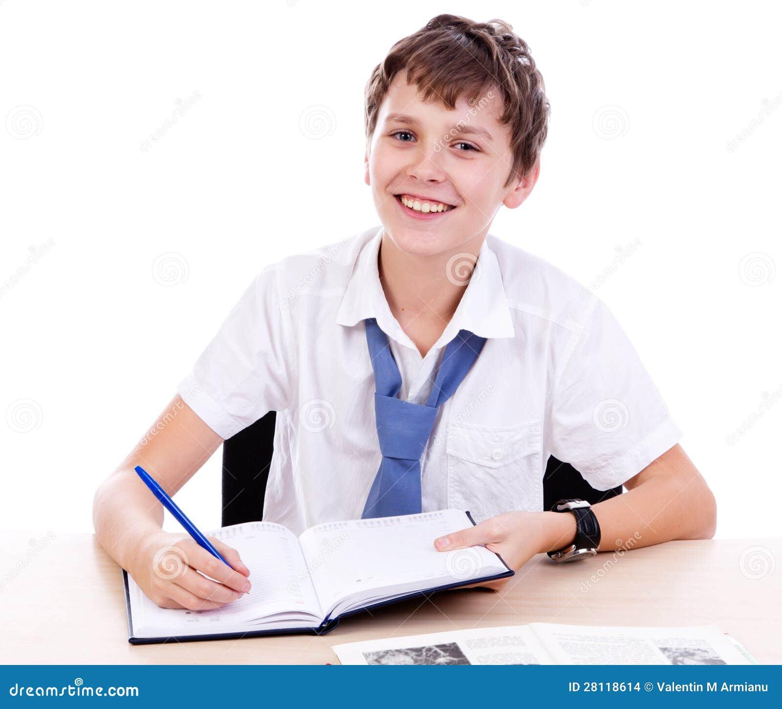 Student bij bureau