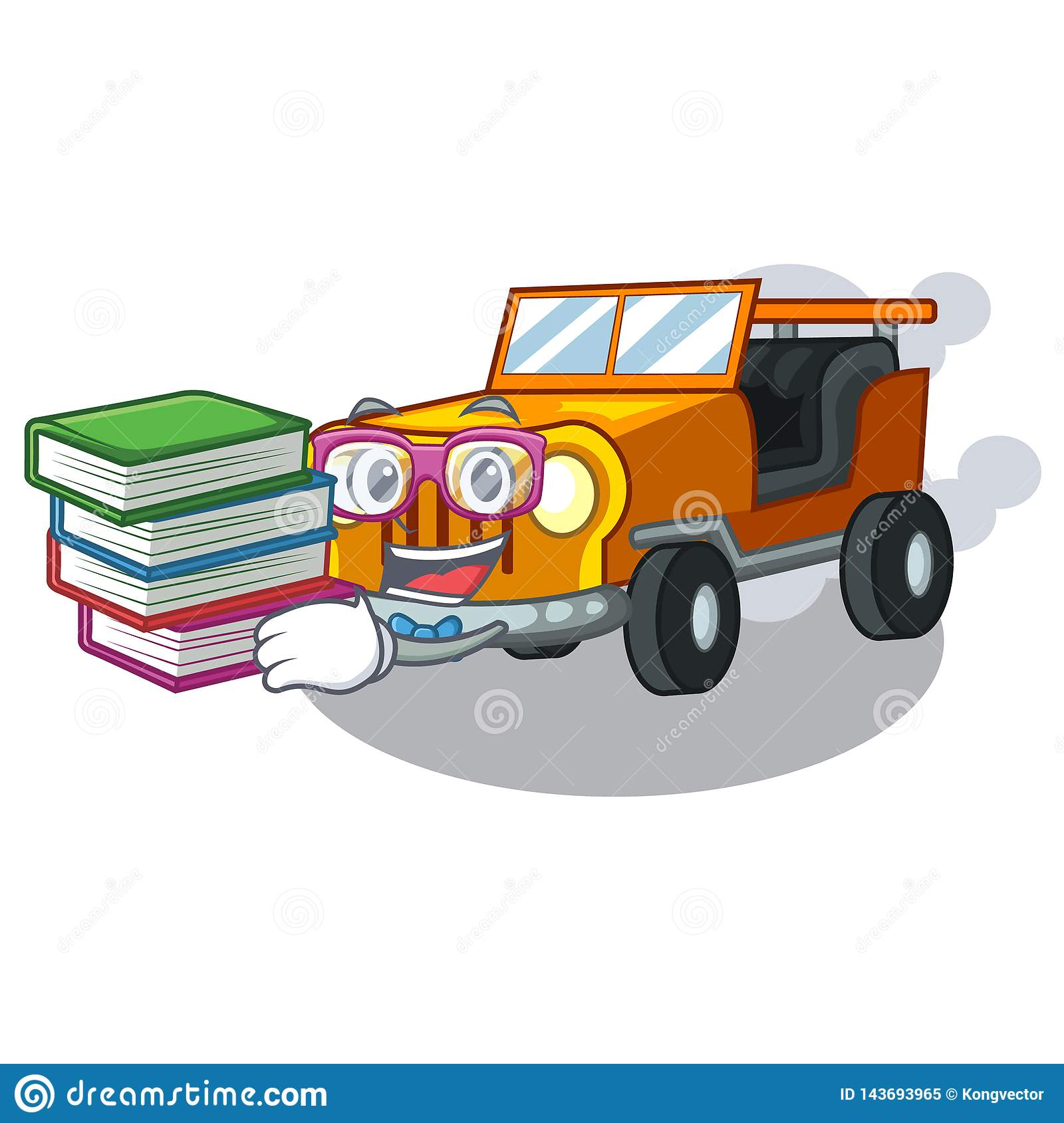 Student with book jeep cartoon car in front clemency