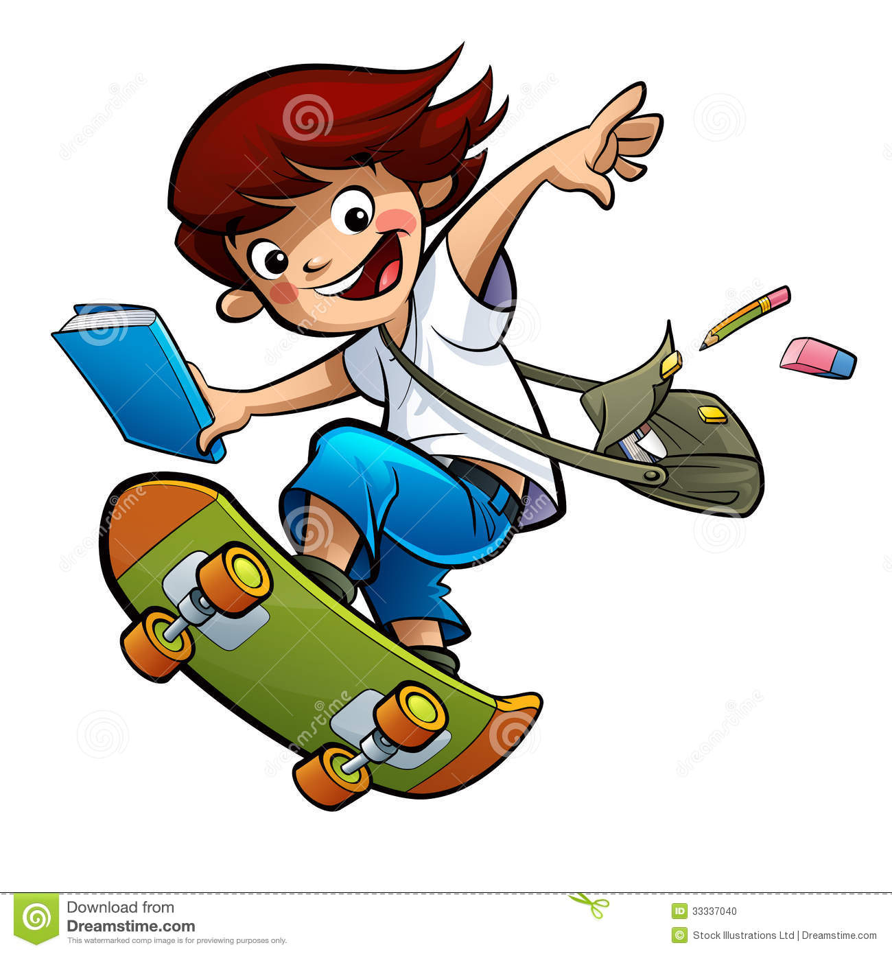 Student Boy Skating Going To School Stock Photo - Image: 33337040 Happy High School Student Clipart