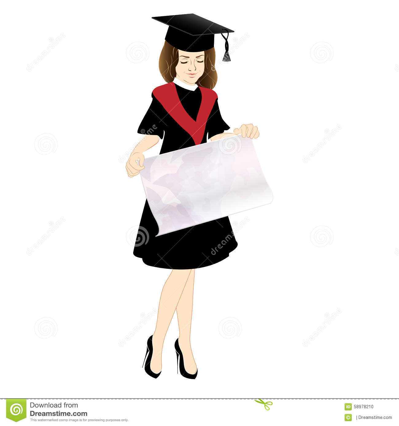 Student In Cap And Gown With A Poster Stock Vector