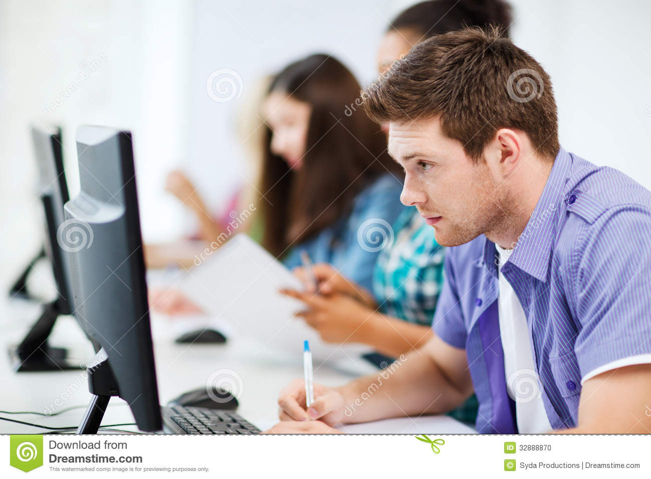 Student With Computer Studying At School Stock Photo ...