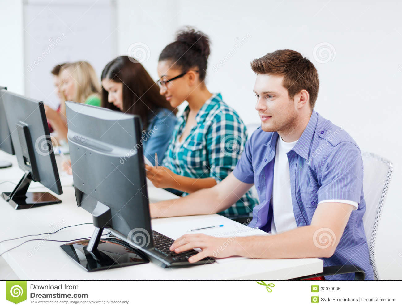 Student With Computer Studying At School Royalty Free ...
