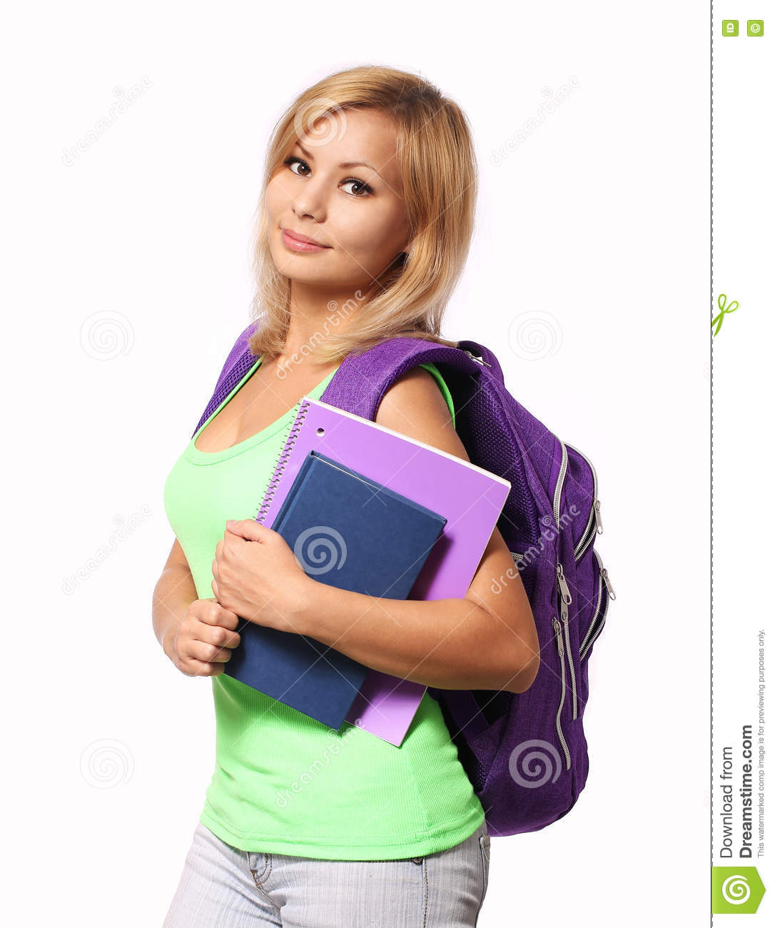 Student girl with backpack and books isolated