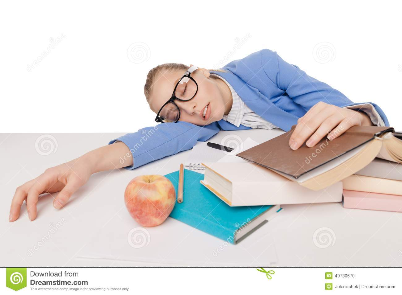 student girl in big glasses sit and sleep stock photo image 49730670. Black Bedroom Furniture Sets. Home Design Ideas