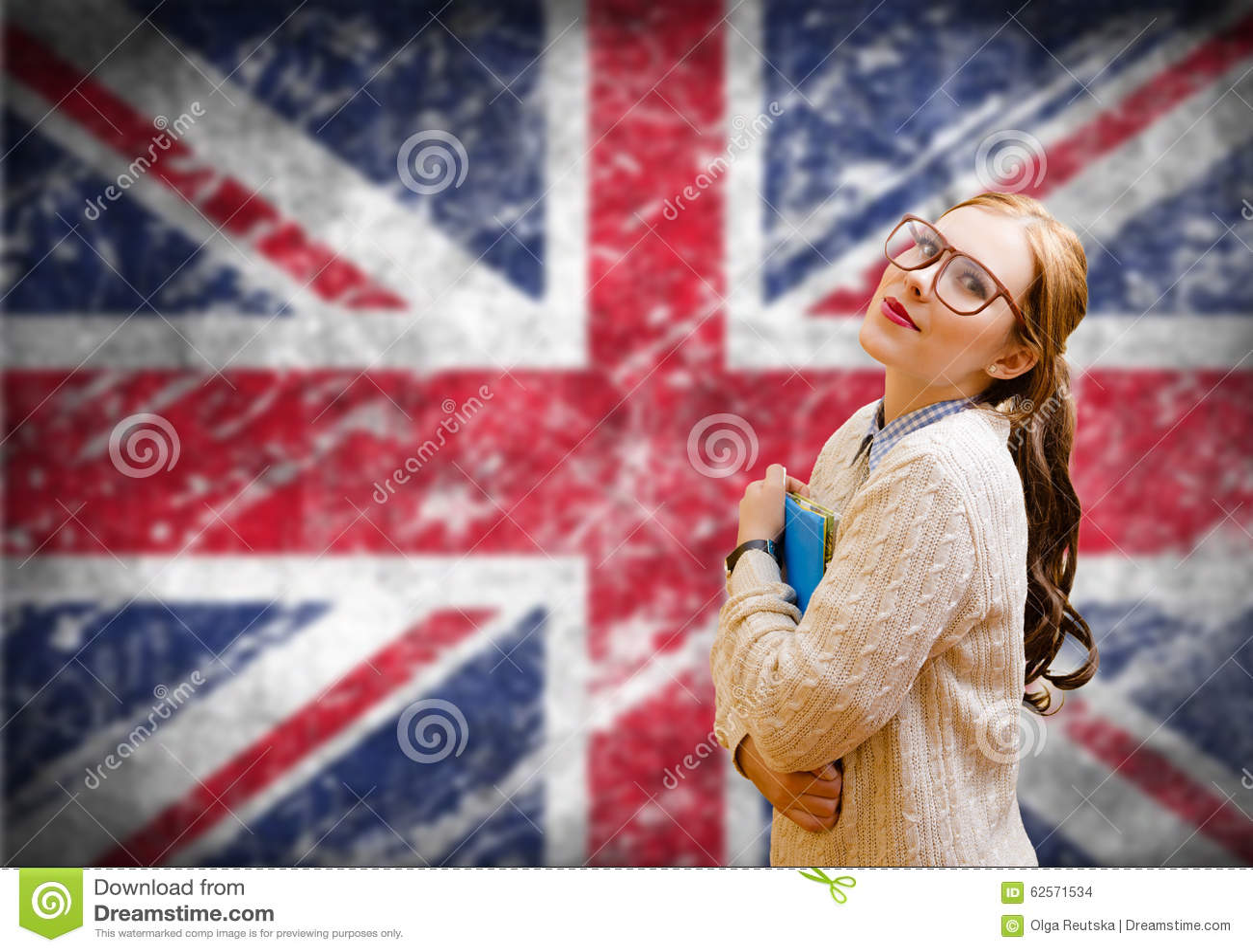 Student girl on english union jack blurred