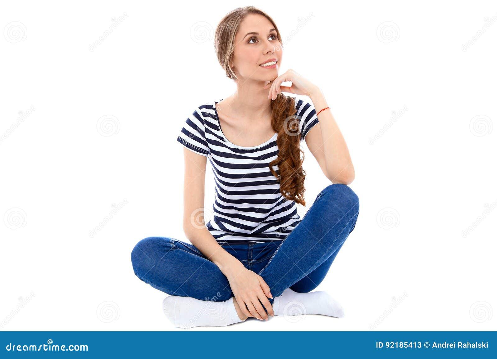 Student Girl som isoleras över bakgrund