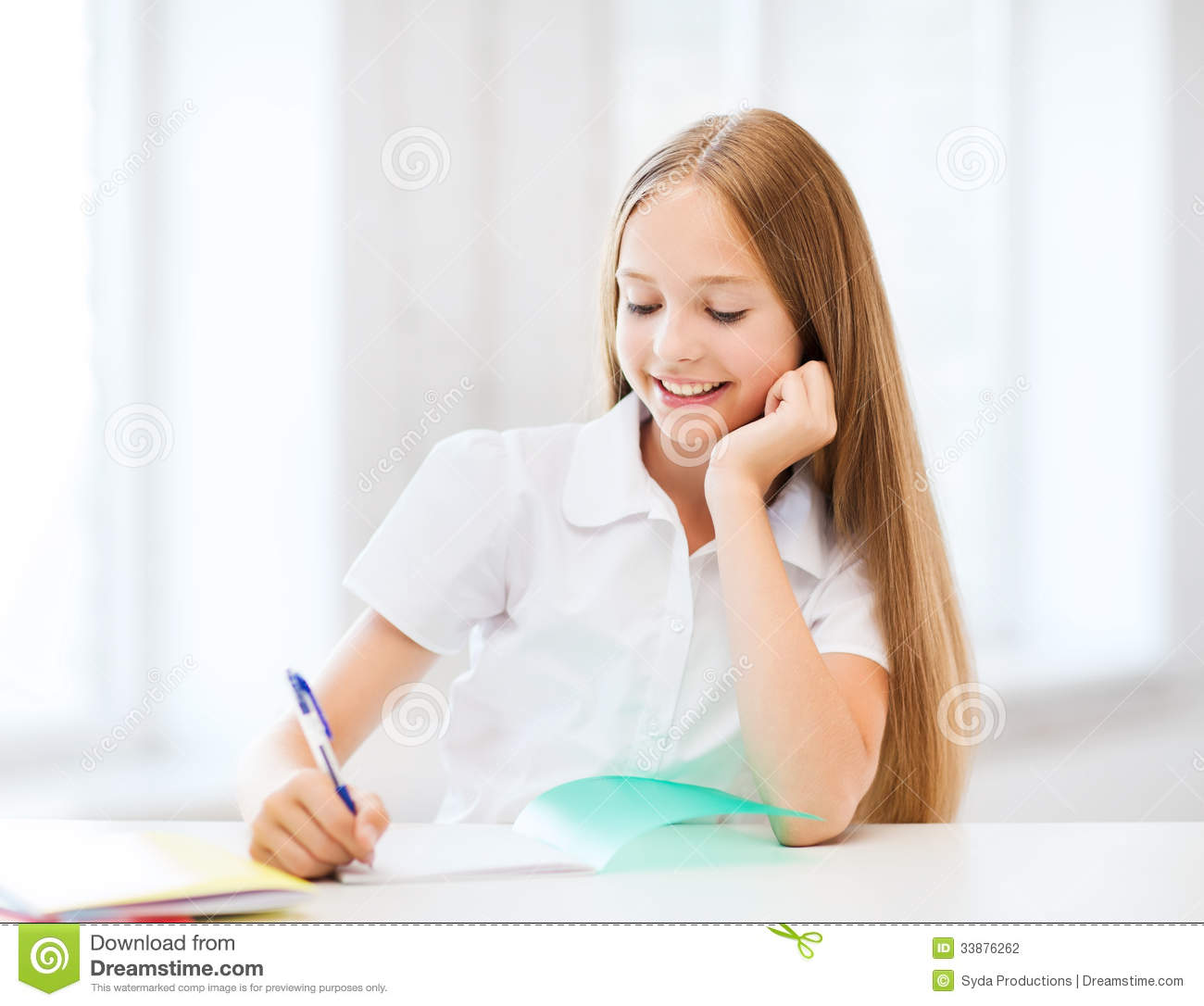 Schools Education6 25 18students: Student Girl Studying At School Stock Photo