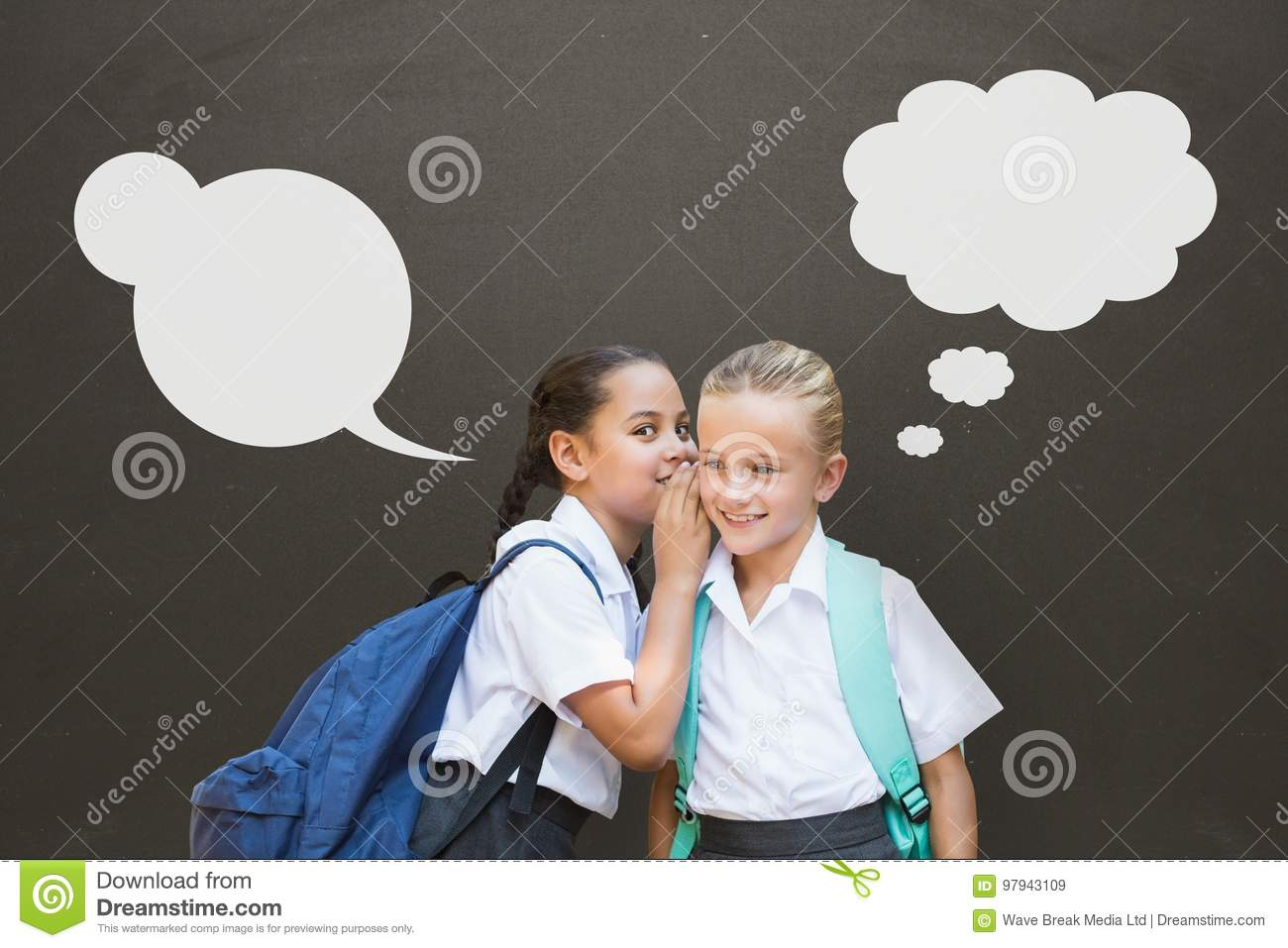 Student girls with speech bubbles whispering against grey background