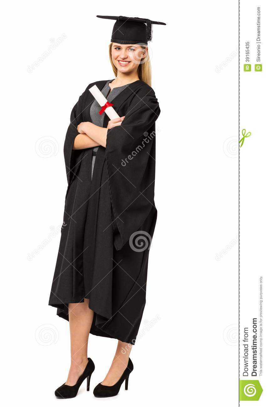 Student In Graduation Gown Holding Certificate Stock Image - Image ...