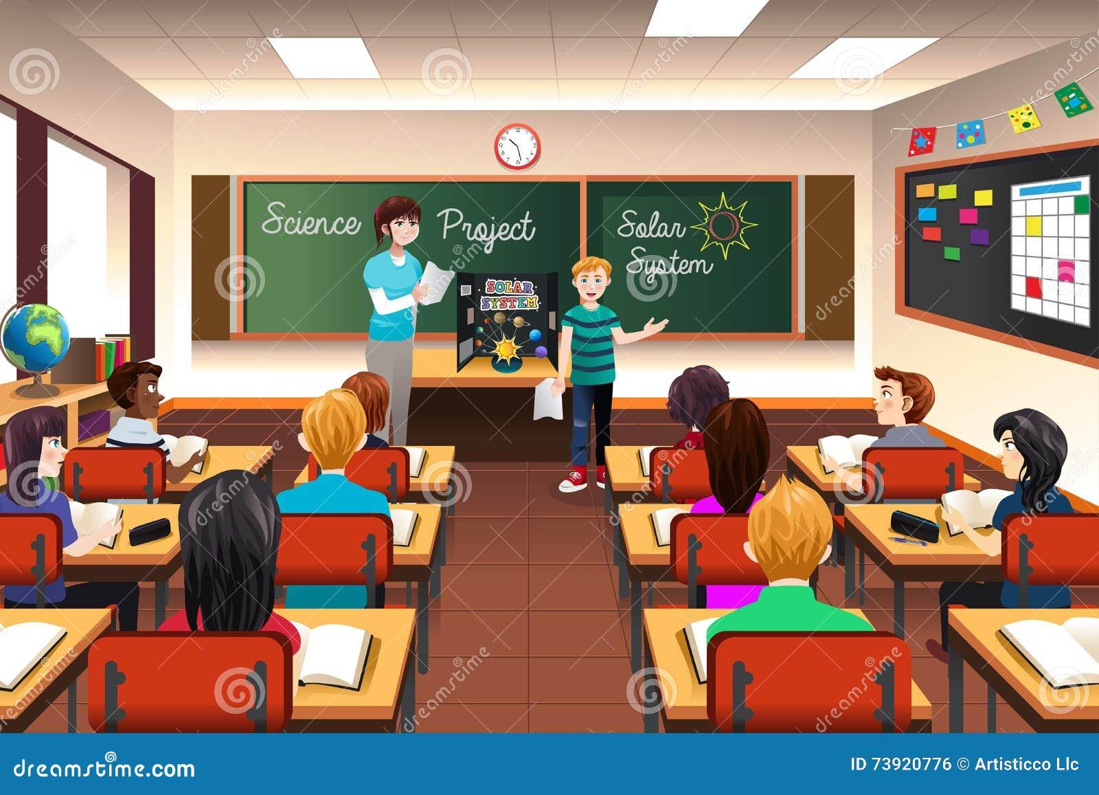 student having science presentation stock vector illustration of