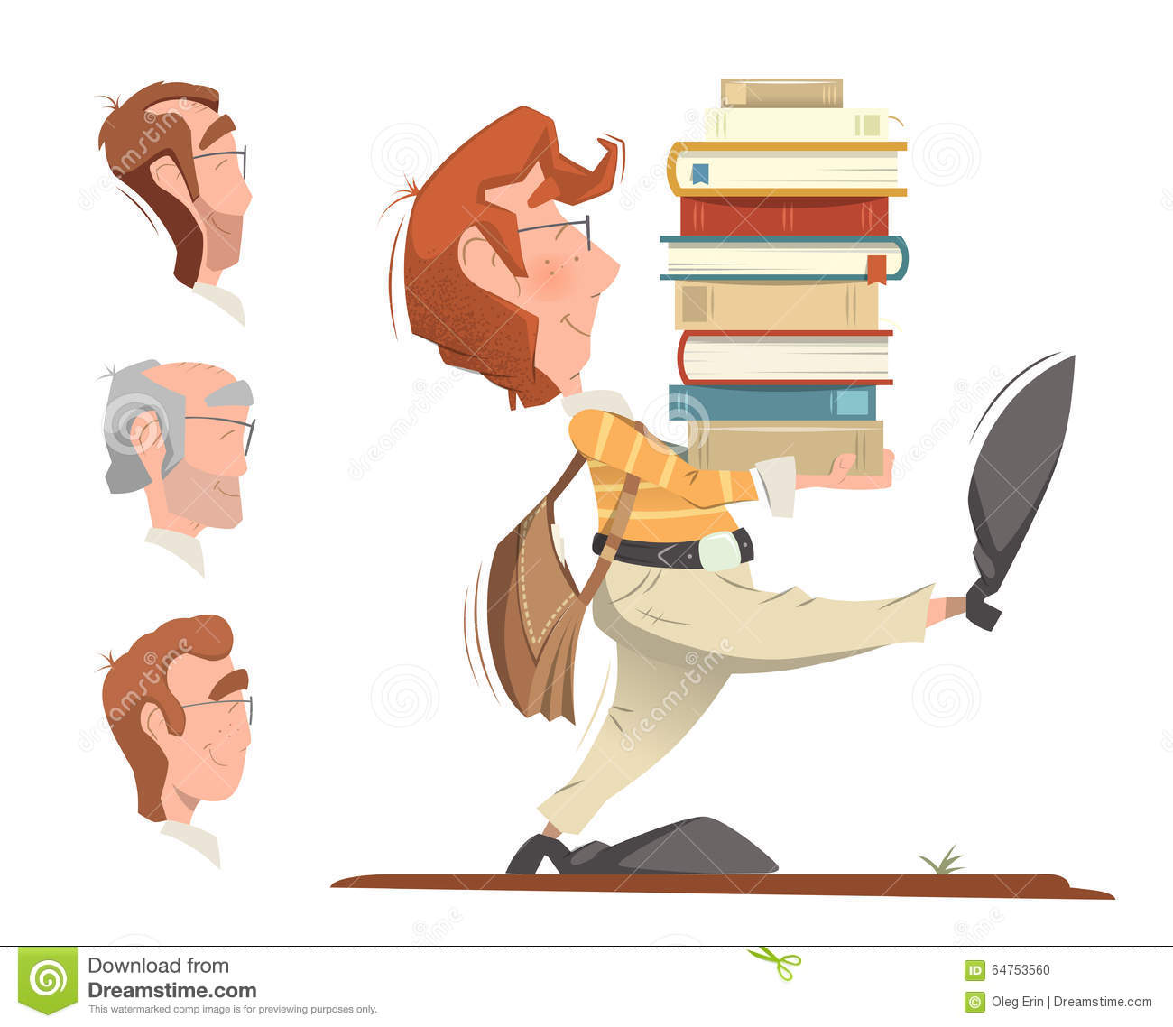 Student holding a heap pile stack of books