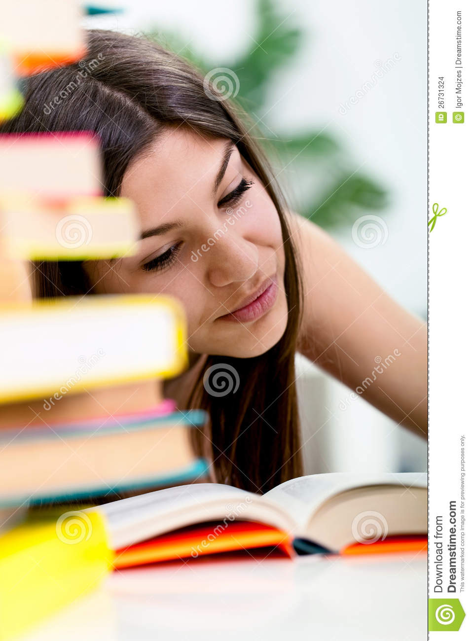 Student Learning In Exam Time Stock Photo Image Of Expression