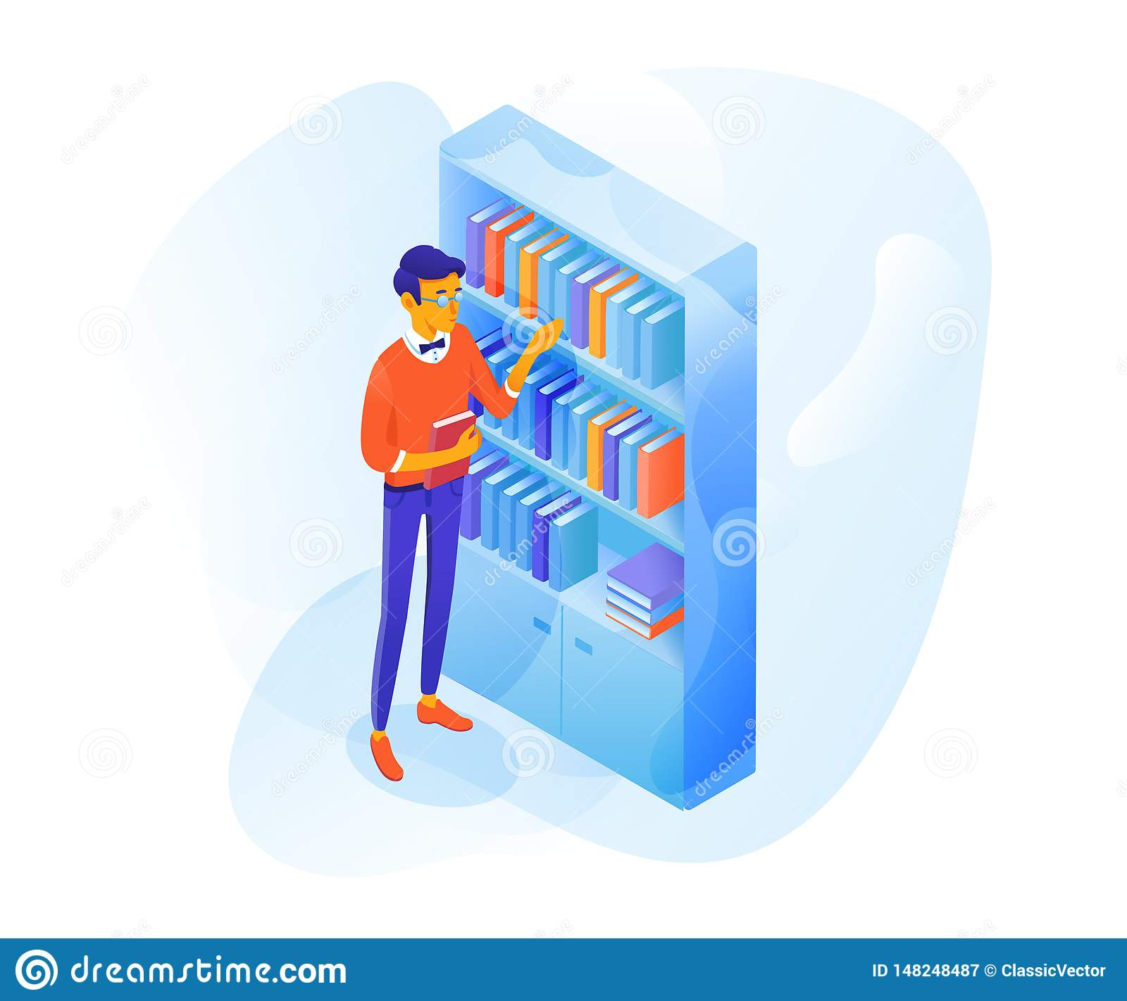 Student in library vector flat color illustration
