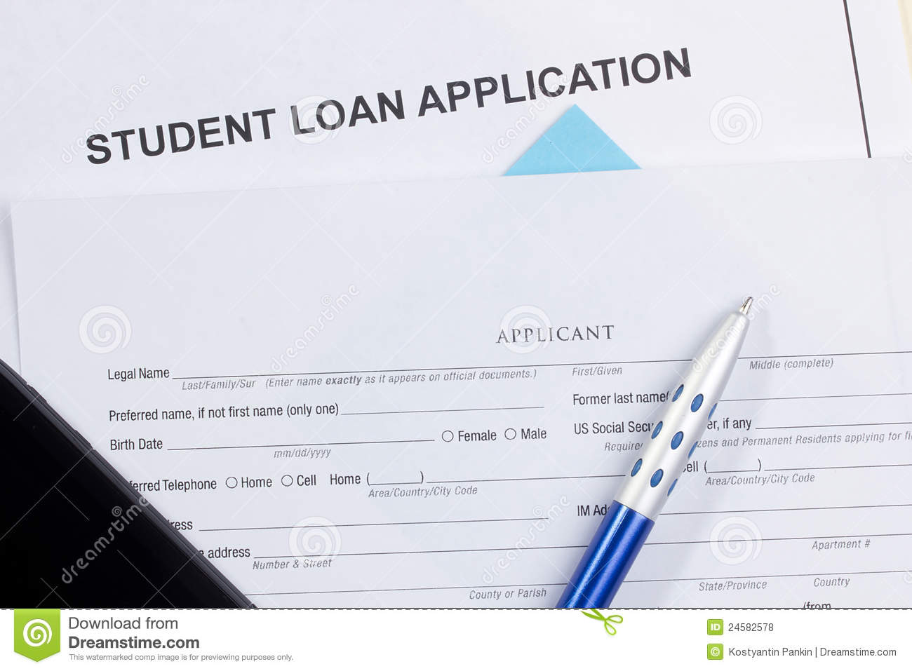 Student Loan Application Royalty Free Stock Photos - Image: 24582578