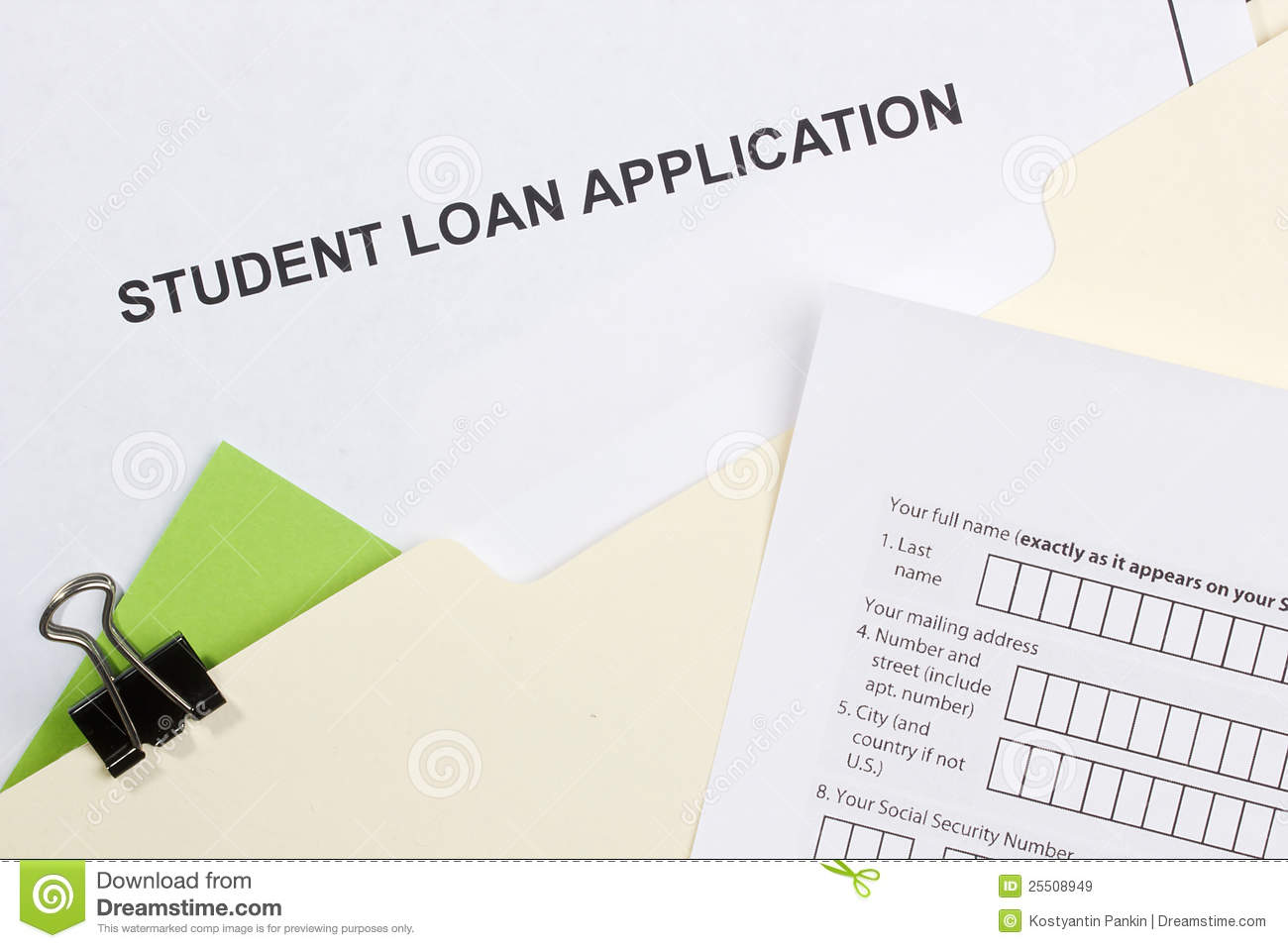 Student Loan Application Royalty Free Stock Images - Image: 25508949