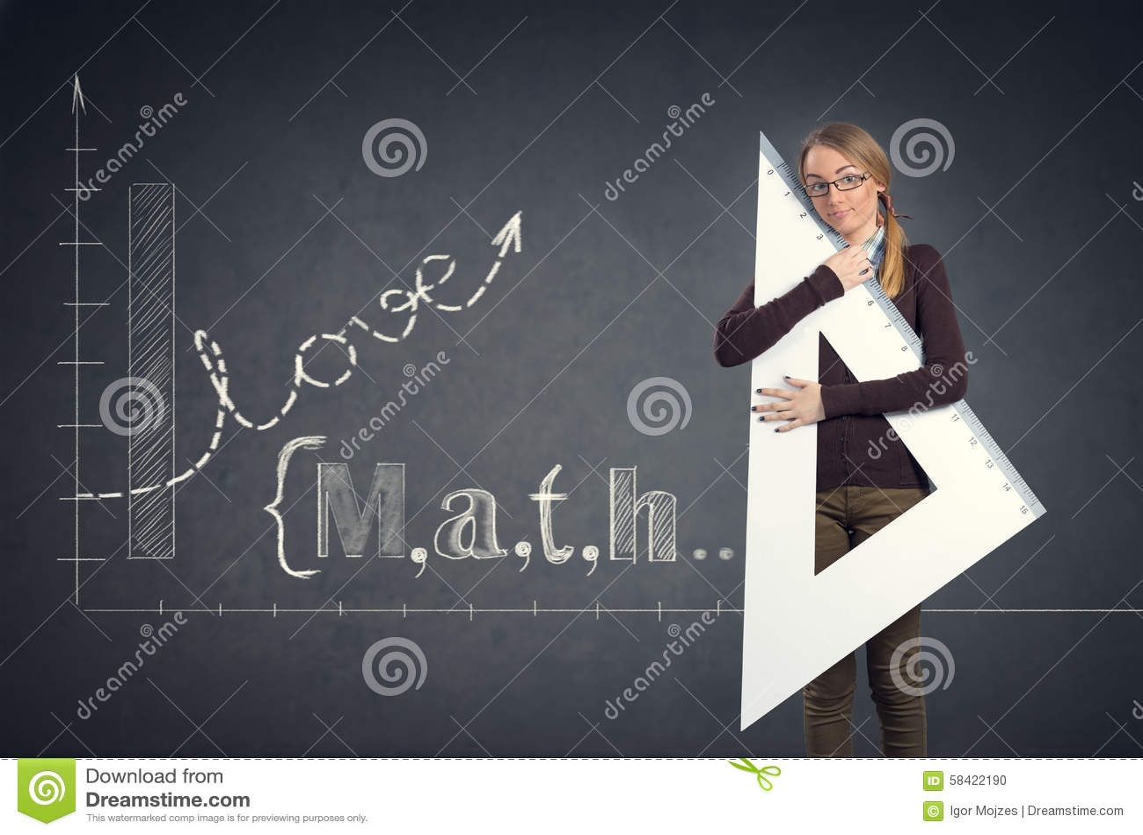 Student loves math stock photo. Image of lesson, mathematics - 58422190
