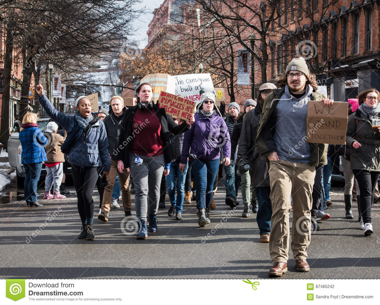 Student Protest on Streets of Downtown Troy, New York