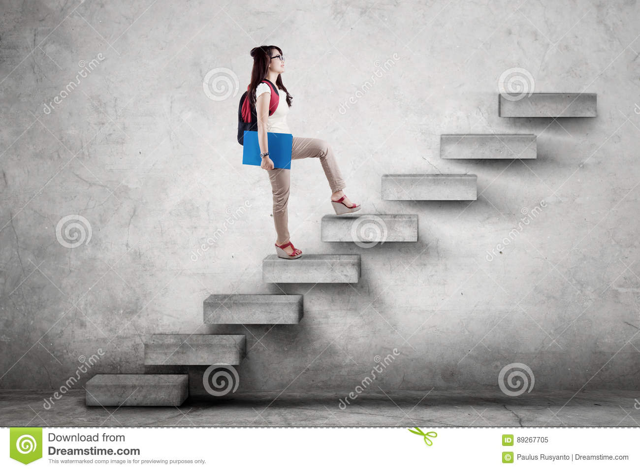 Student With Rucksack Climbing A Stairs Stock Image - Image: 89267705 for Student Climbing Ladder  51ane