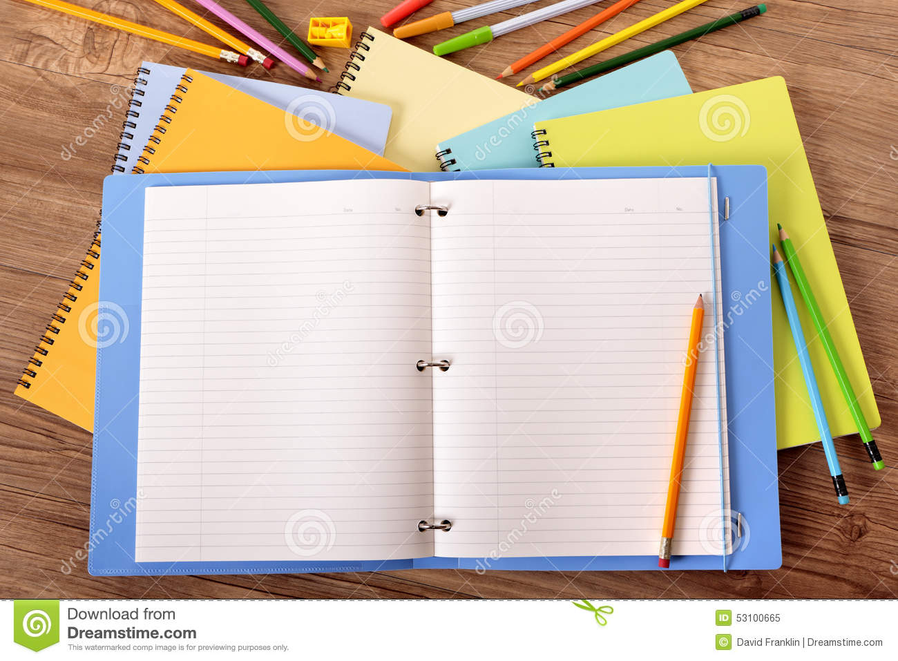 Student Desk Writing Book Blank Ring Binder Copy Space
