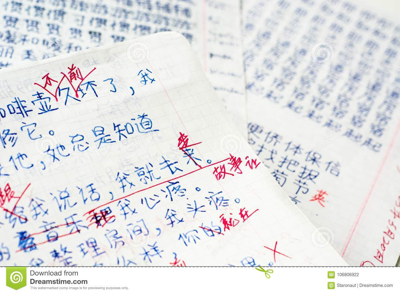Student`s Homework In Chinese With Corrections Stock Photo