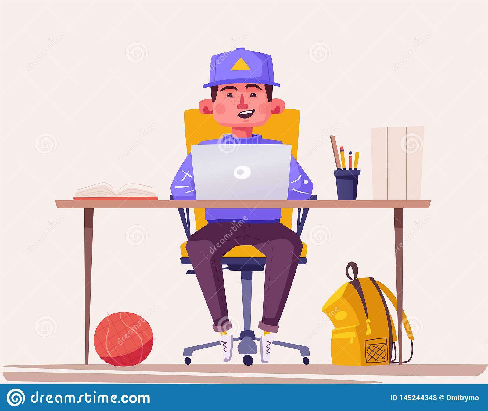 Student or schoolboy studying at the computer. Cartoon vector illustration