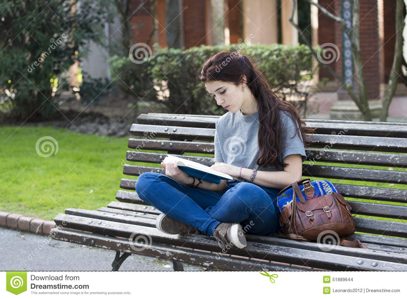 student sitting wood bench read blue book outdoor hipster girl old park 51889644 Uncomplicated Secrets In essay tigers essaysrescue   Whats Needed