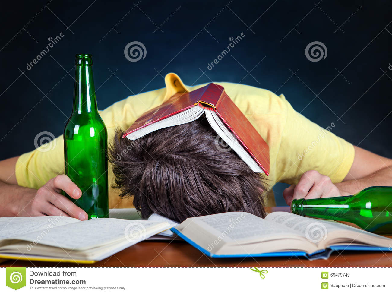 Student Sleep With A Beer Stock Image. Image Of Habit