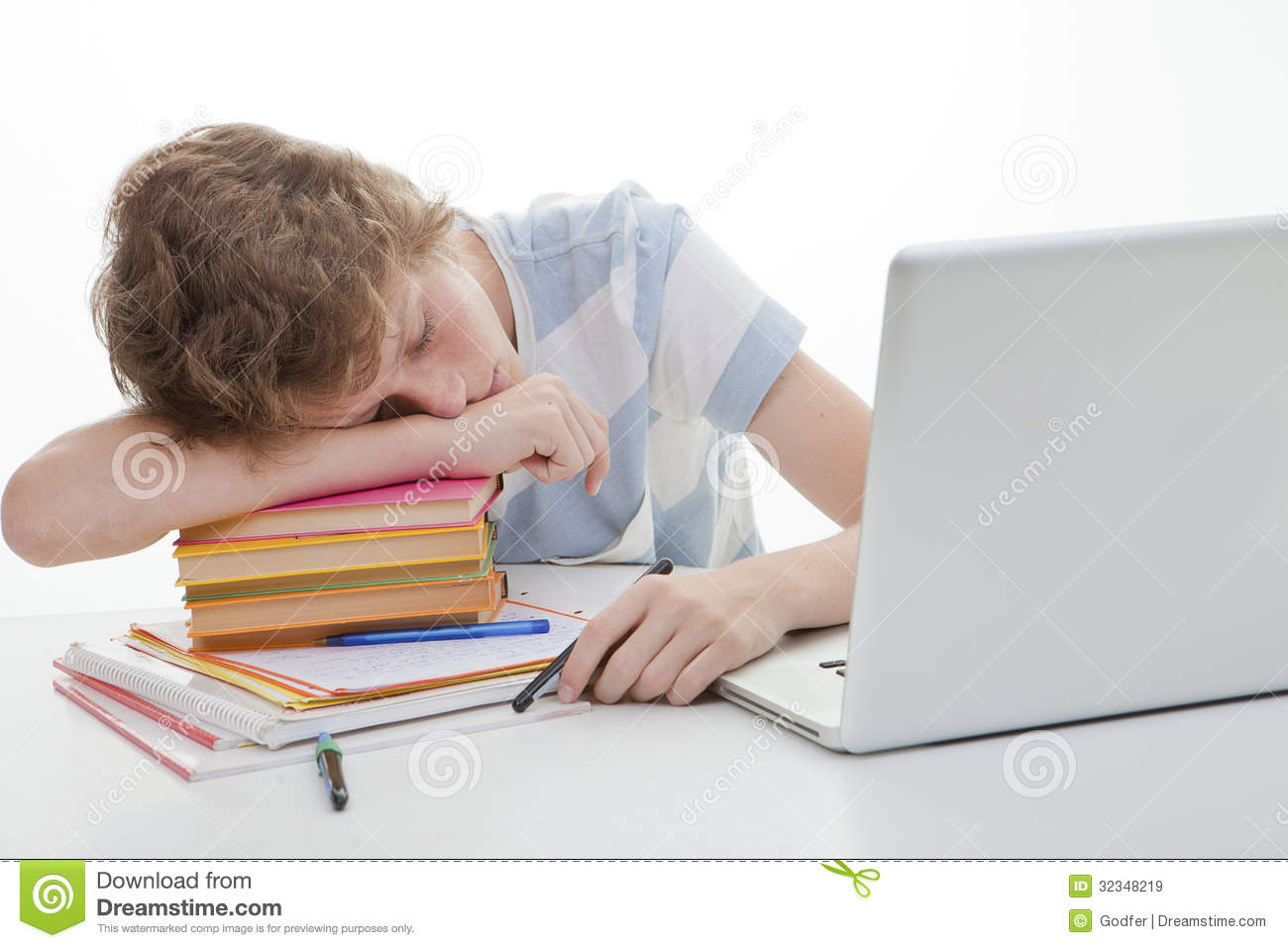Student Sleeping Homework Royalty Free Stock Images