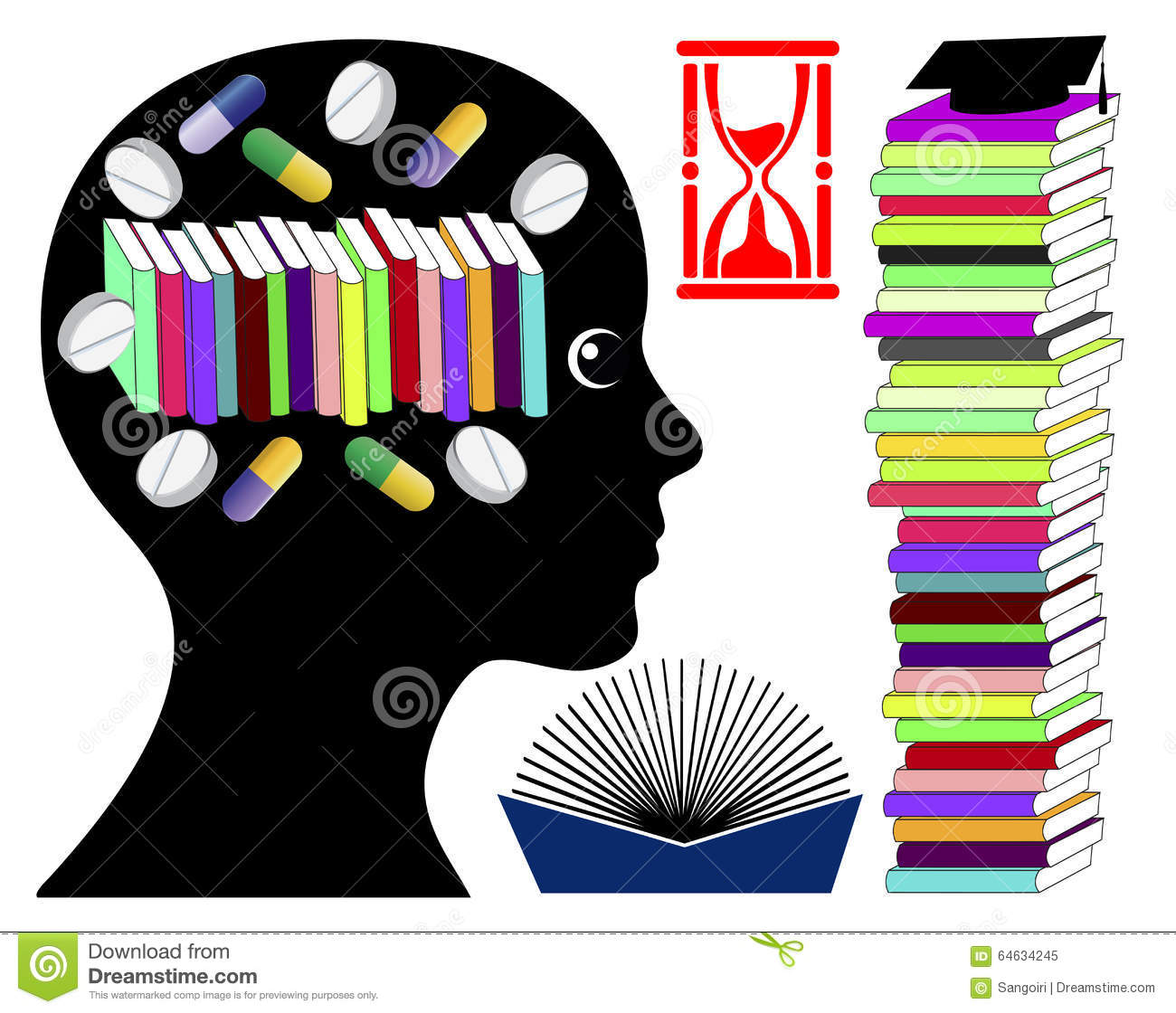 Student Taking Brain Enhancing Drugs Stock Illustration