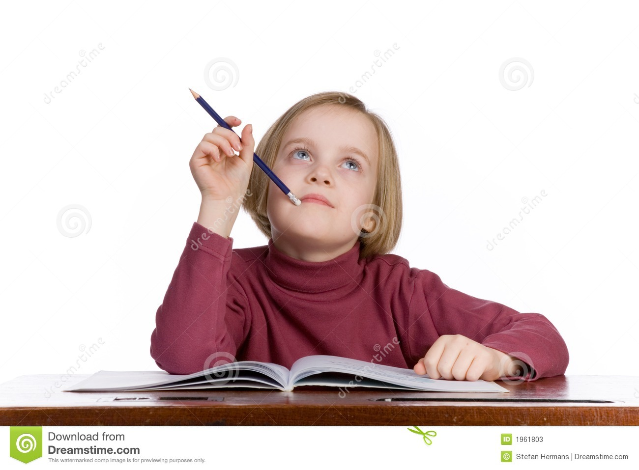 Student thinking stock image. Image of desk, learn, think ...