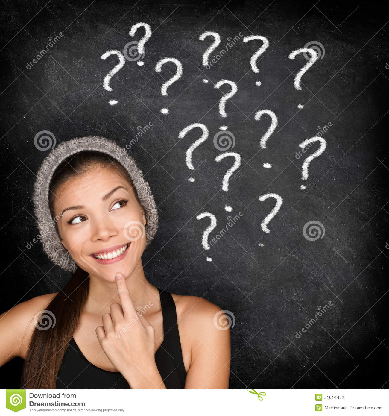 Student thinking with question marks on blackboard