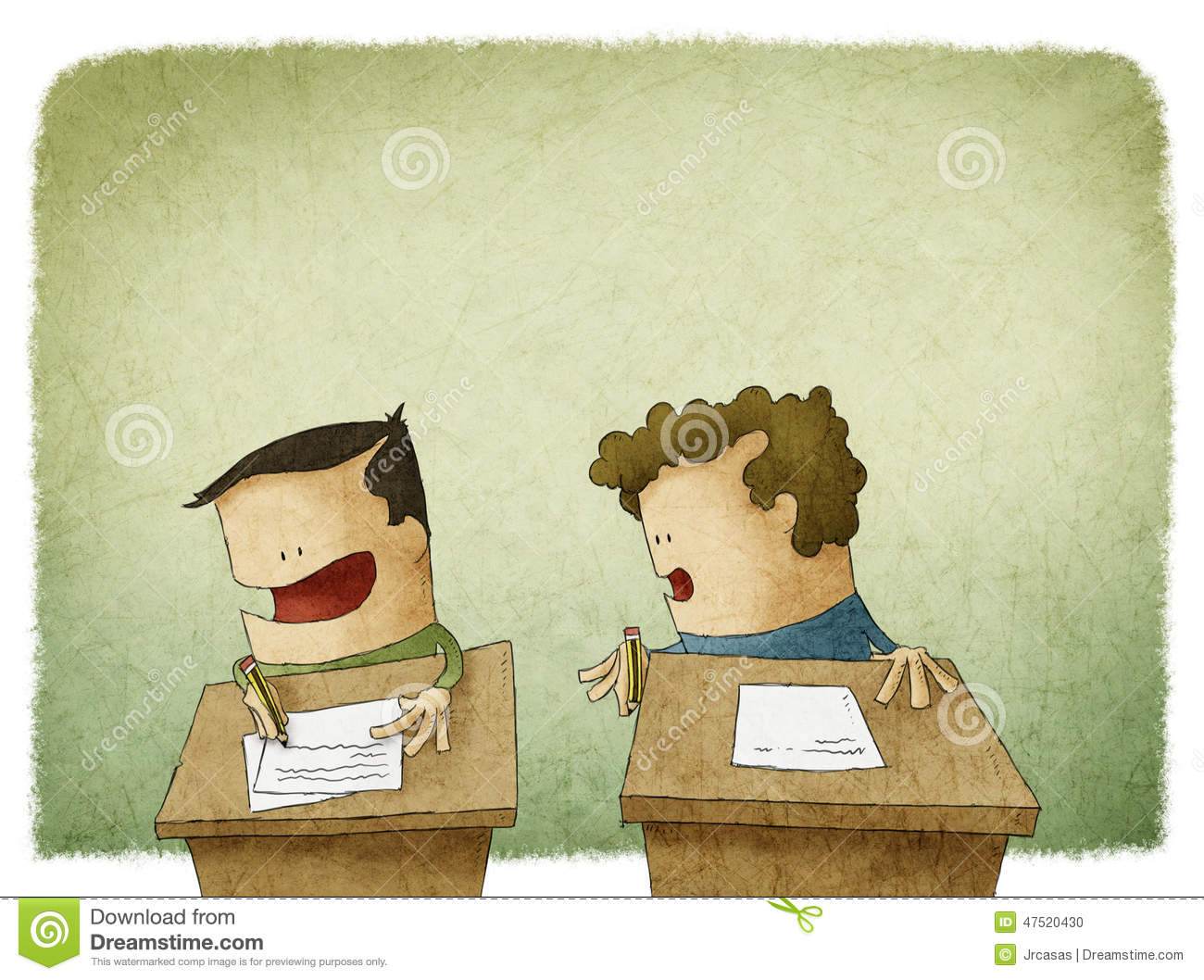 Student Trying To Cheat At Exam Stock Illustration - Illustration of