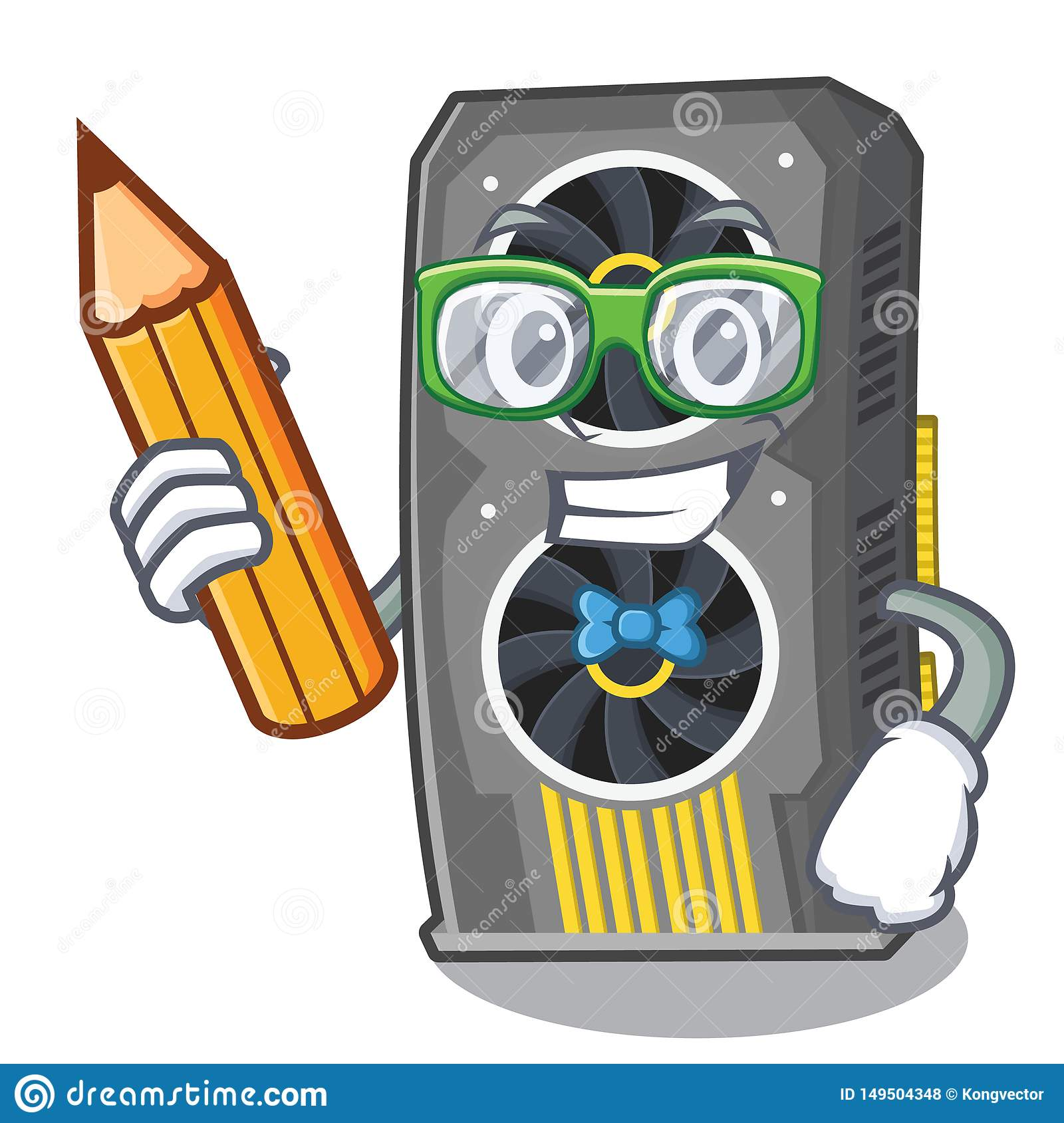 Student video graphics card isolated with cartoon