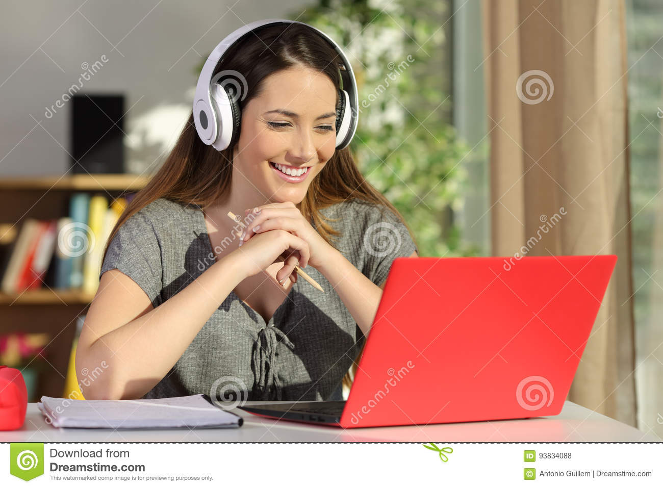 Download Student Watching Video Tutorials On Line Stock Photo - Image of call, lady: 93834088