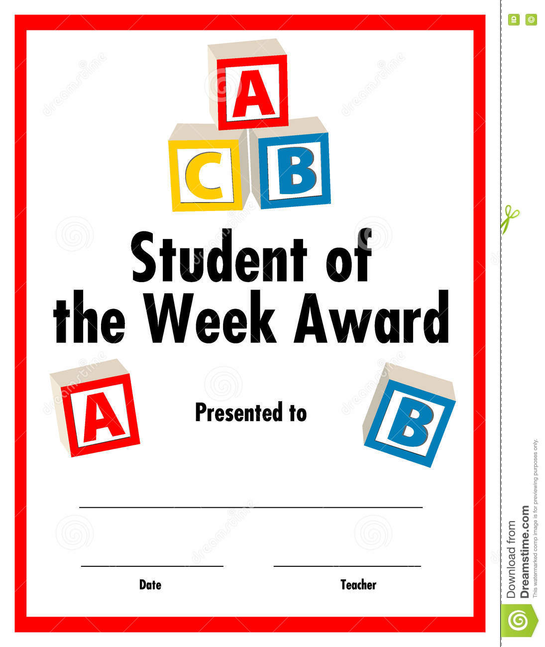 Student of the week award certificate available stock illustration student of the week award certificate available xflitez Choice Image